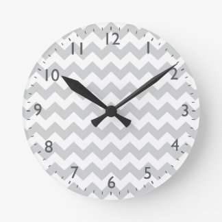 Stylish pale gray zig zags zigzag chevron pattern round clock