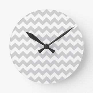 Stylish pale gray zig zags zigzag chevron pattern wall clocks