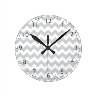 Stylish pale grey zig zags zigzag chevron pattern clocks