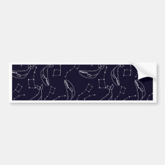 Stylish pattern with whales and constellations bumper sticker