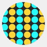 Stylish Patterns for Her : Gold & Cyan Polka Dots Round Sticker