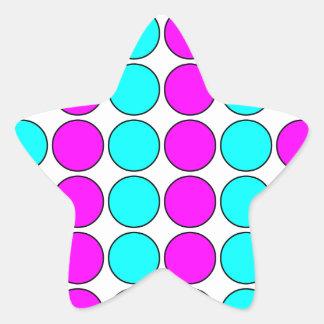 Stylish Patterns for Her : Pink & Cyan Polka Dots Star Sticker