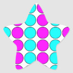 Stylish Patterns for Her : Pink & Cyan Polka Dots Star Stickers