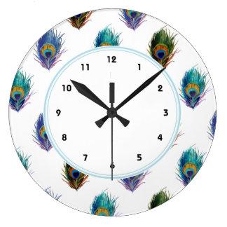 Stylish Peacock feathers pattern white wall clock