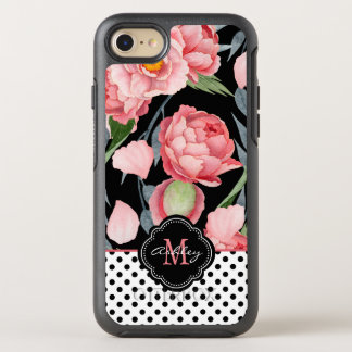 Stylish Peonies and Polka Dots with Monogram OtterBox Symmetry iPhone 8/7 Case