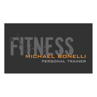 Stylish Personal Trainer Gray Yellow Business Card