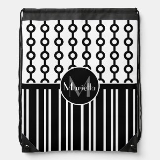Stylish Personalized Black and White patterned Drawstring Backpack