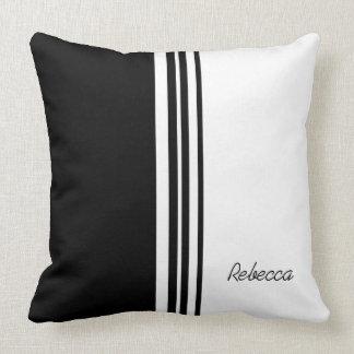 Stylish personalized signature black and white pillows