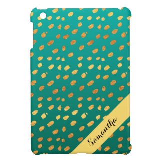 Stylish Personalized Teal Green and Gold Confetti iPad Mini Cover