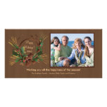 Stylish Pine Cone Wreath Holiday PhotoCard Customised Photo Card