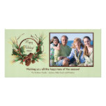 Stylish Pine Cone Wreath Holiday PhotoCard Photo Card Template