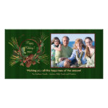 Stylish Pine Cone Wreath Holiday PhotoCard Personalised Photo Card
