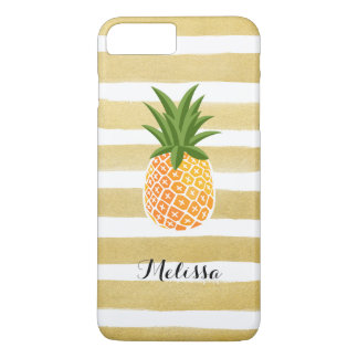 Stylish Pineapple Watercolor Gold Stripes iPhone 8 Plus/7 Plus Case