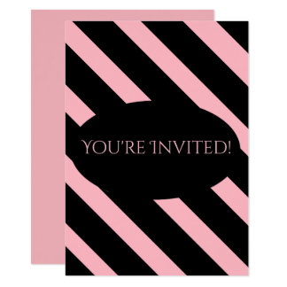 Stylish Pink and Black Wide Stripes 11 Cm X 16 Cm Invitation Card