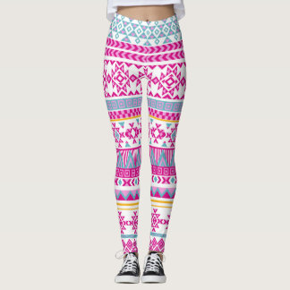 Stylish Pink and Blue Tribal Aztec Leggings