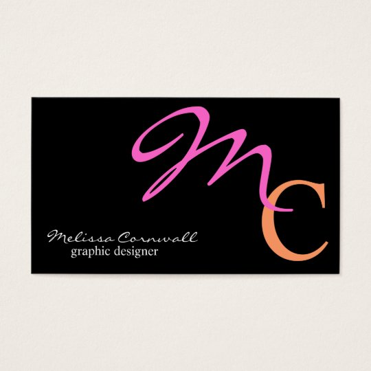 Stylish Pink and Peach Script Monogram Business Card