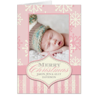 STYLISH PINK BABY'S FIRST CHRISTMAS PHOTO CARD