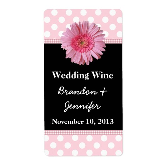 Stylish Pink Gerber Daisy Mini Wine Labels