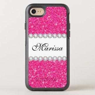 Stylish Pink Glitter White Sparkles OtterBox Symmetry iPhone 8/7 Case