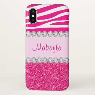 Stylish Pink Glitter White Zebra Elegant Sparkles iPhone X Case