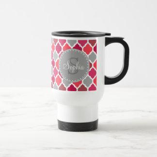 Stylish Pink Grey Moroccan Pattern Monogram Travel Mug