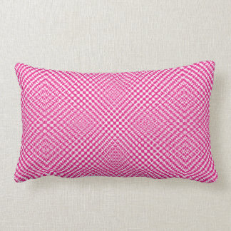 Stylish Pink Herringbone Check Patterned Lumbar Cushion