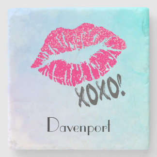 Stylish Pink Kissy Lips with xoxo! Personalized Stone Beverage Coaster