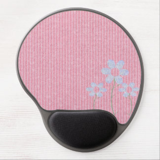 Stylish Pink Knit Floral Pattern Gel Mouse Mats