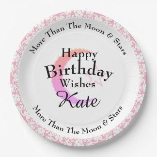 Stylish-Pink-Lace-Moon-Star-Monogram-Birthday Paper Plate