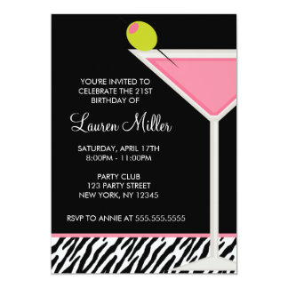 Stylish Pink Martini Glass Birthday Party 13 Cm X 18 Cm Invitation Card