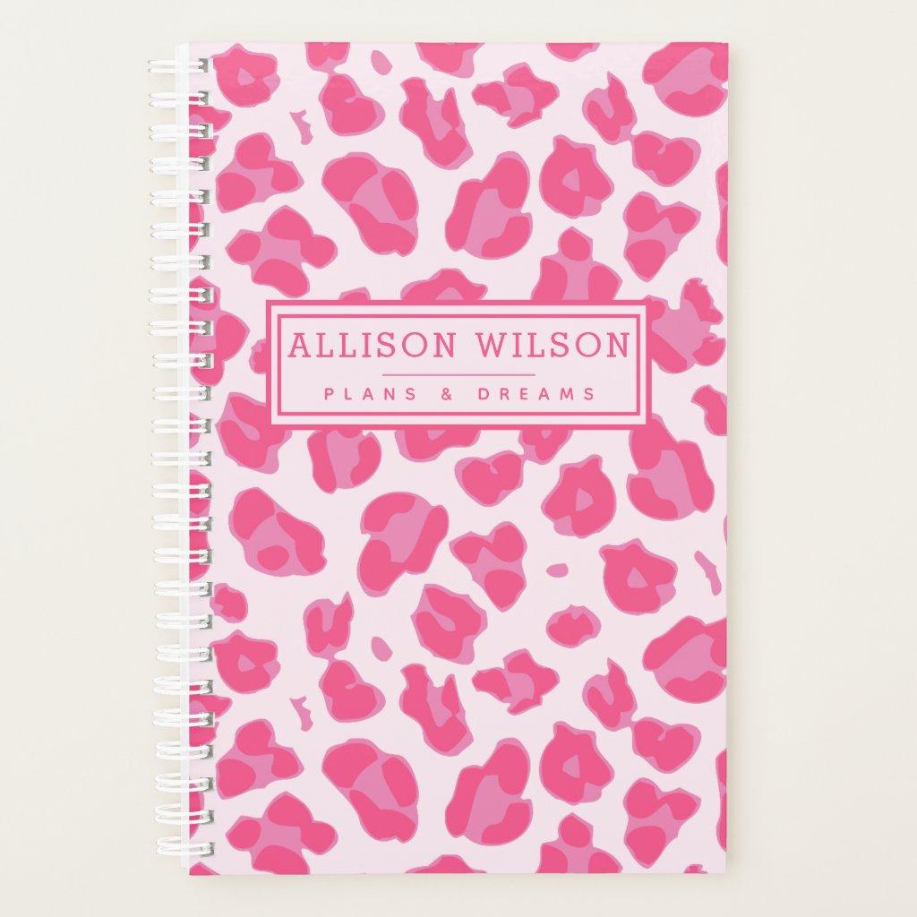 Stylish Pink on Pink Leopard Print Planner
