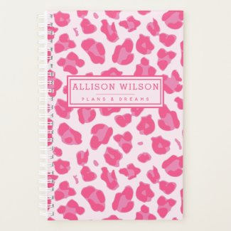 Stylish Pink on Pink Leopard Print Planner