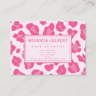 Stylish Pink On Pink Leopard Print Business Card