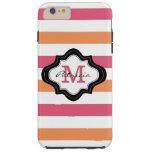 Stylish Pink Orange White Stripes Custom Monogram