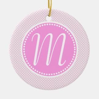 Stylish Pink Pastel Lattice Monogram Round Ceramic Ornament