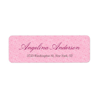 Stylish Pink Pattern Handwriting Modern Feminine Return Address Label