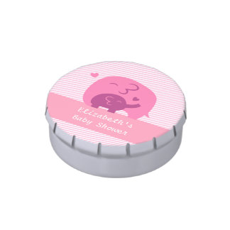 Stylish Pink Purple Baby Elephant Baby Shower Candy Tins