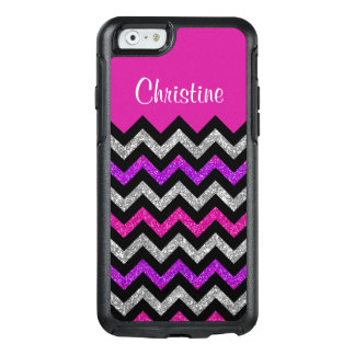 Stylish Pink Silver Glitter Black Chevron OtterBox iPhone 6/6s Case