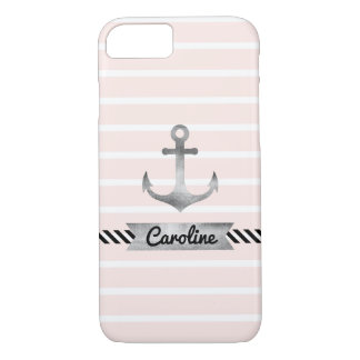 Stylish Pink Stripes Watercolor Anchor Custom iPhone 8/7 Case