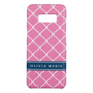 Stylish Pink Trellis Pattern Navy Blue Nameplate Case-Mate Samsung Galaxy S8 Case