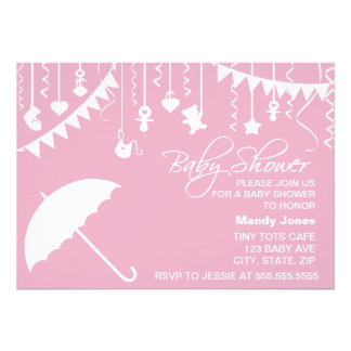 Stylish Pink umbrella baby shower invitation