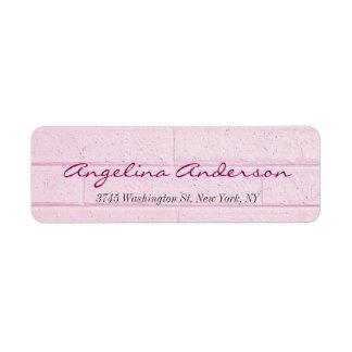 Stylish Pink Wall Handwriting Modern Feminine Return Address Label