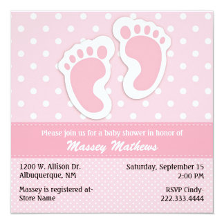 Stylish Pink & White Polka Dot Baby Shower 13 Cm X 13 Cm Square Invitation Card