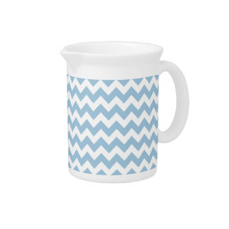 Stylish Pitcher or Jug, Blue and White Chevrons