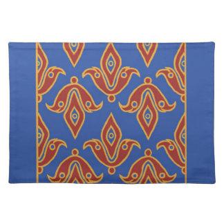 Stylish Placemat, Red, Gold, Blue Fleur de Lys Cloth Place Mat