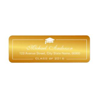 Stylish Plain Gold Gradient and Graduation Cap Return Address Label