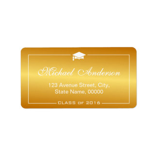 Stylish Plain Gold Gradient -  Graduation Cap Address Label
