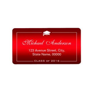 Stylish Plain Red Gradient Graduation Cap Graduate Address Label