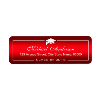 Stylish Plain Red Gradient Graduation Cap Graduate Return Address Label