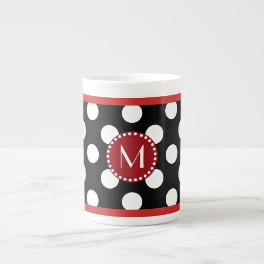 Stylish Polka Dot Monogram Bone China Mug